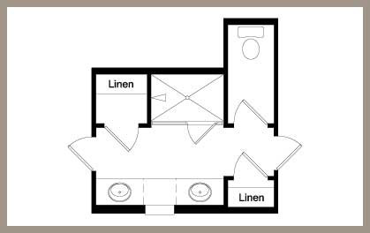 Floor plan layout of a primary bathroom with large walk-in shower / Floor plan layout of a primary bathroom with shower and garden tub