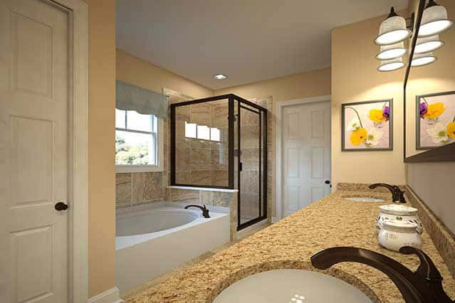 Primary bathroom with large walk-in shower / Primary bathroom with shower and garden tub