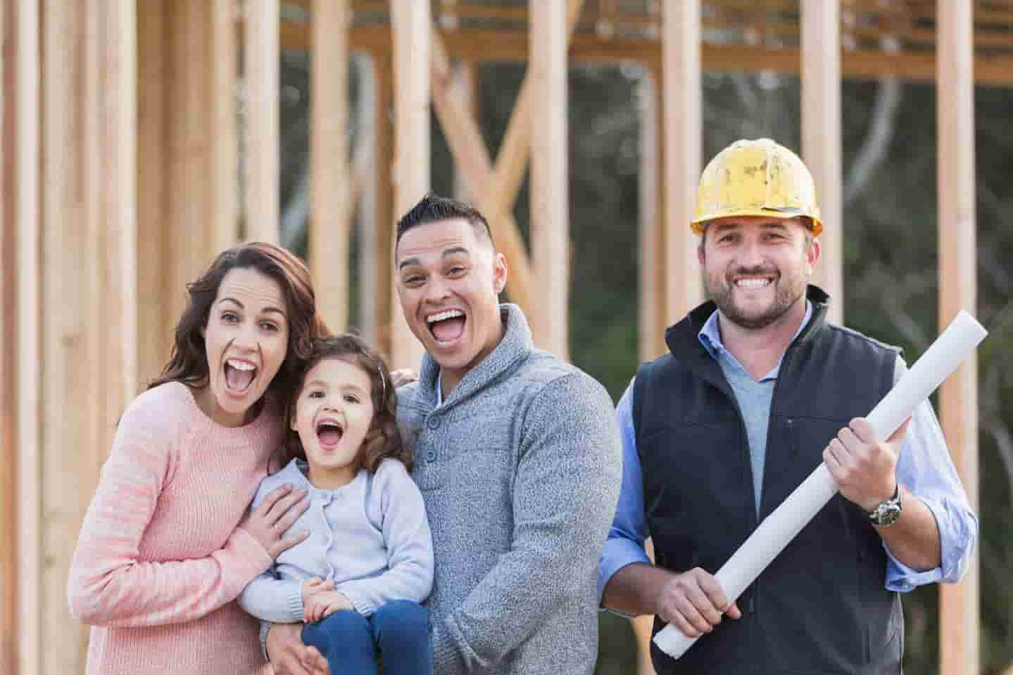 Homeowners seeing their home in framing